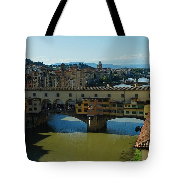 The Bridges Of Florence Italy Tote Bag by Georgia Mizuleva