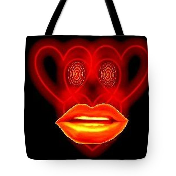 Tote Bag featuring the digital art The Broadcast Monkey Hearts by Catherine Lott
