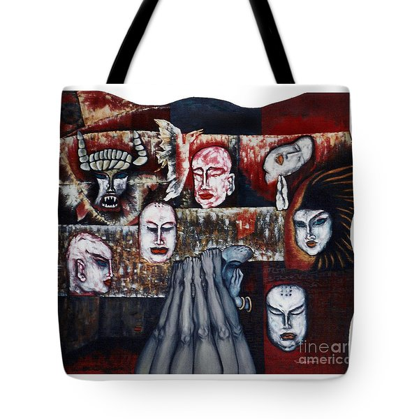 Tote Bag featuring the painting The Buddhism Conception And The Human World by Fei A