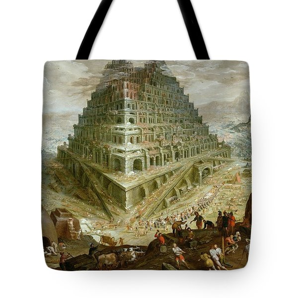 The Building Of The Tower Of Babel Tote Bag by Marten van Valckenborch