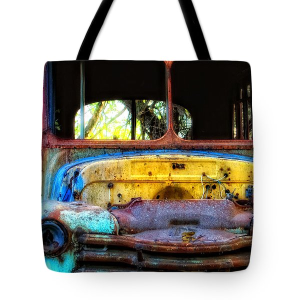 Tote Bag featuring the photograph The Bus Stops Here by Erika Weber