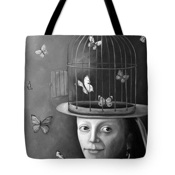 The Butterfly Keeper Bw Tote Bag by Leah Saulnier The Painting Maniac