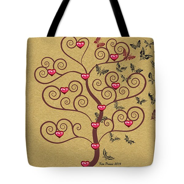 the Butterly heart Tree Tote Bag by Kim Prowse