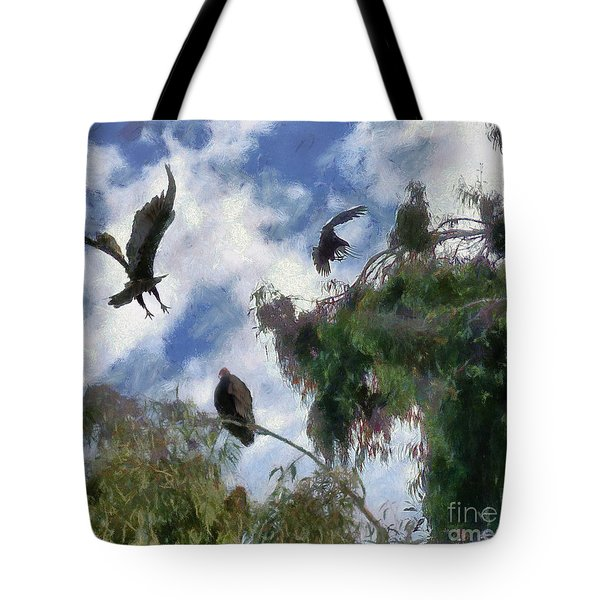 Tote Bag featuring the digital art The Buzzard Tree by Rhonda Strickland