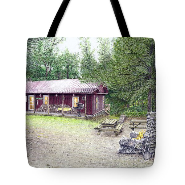 Tote Bag featuring the painting The Cabin In The Woods by Albert Puskaric