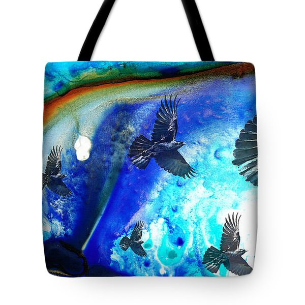 The Calling - Raven Crow Art By Sharon Cummings Tote Bag by Sharon Cummings