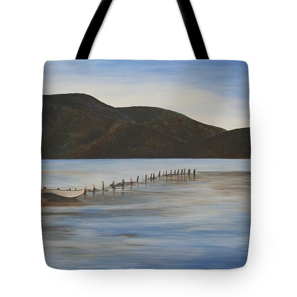 Tote Bag featuring the painting The Calm Water Of Akyaka by Tracey Harrington-Simpson