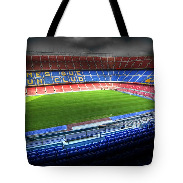 The Camp Nou Stadium In Barcelona Tote Bag