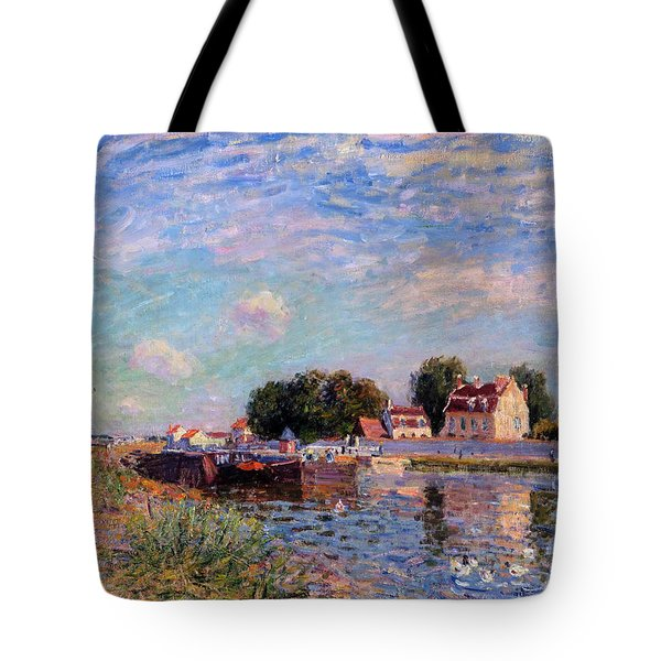 The Canal At Saint-mammes Tote Bag by Alfred Sisley