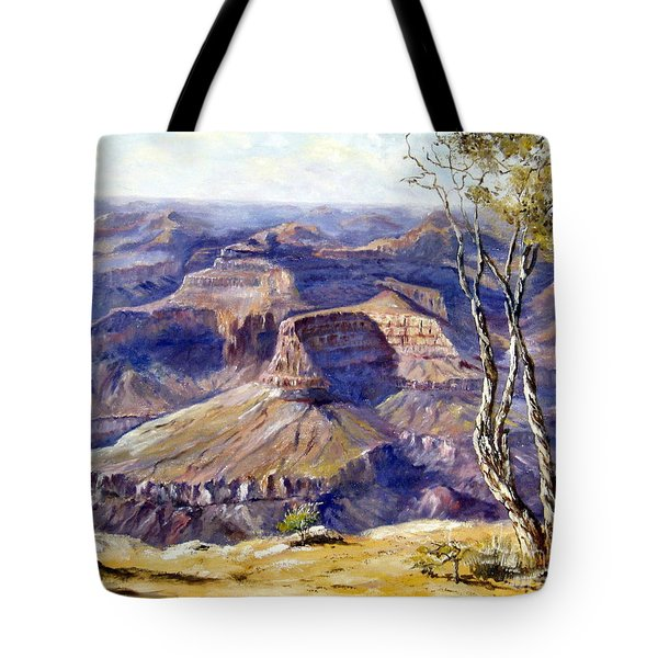 Tote Bag featuring the painting The Canyon by Lee Piper