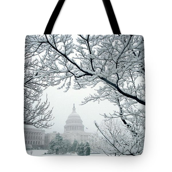 The Capitol In Snow Tote Bag by Joe  Connors