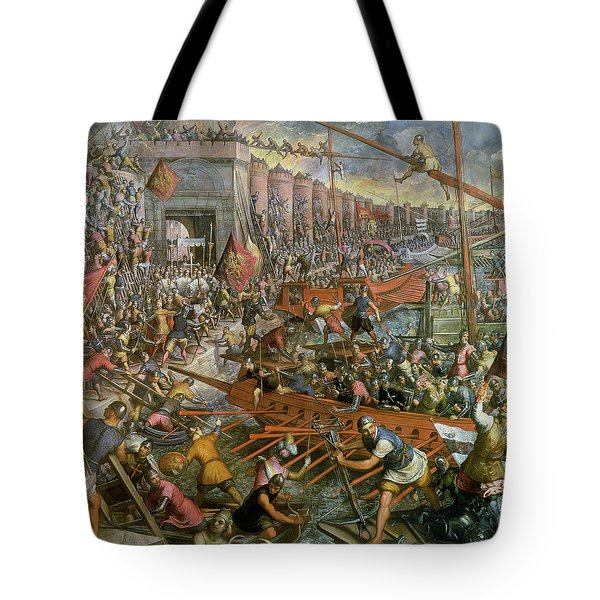 The Capture Of Constantinople In 1204 Tote Bag by Jacopo Robusti Tintoretto