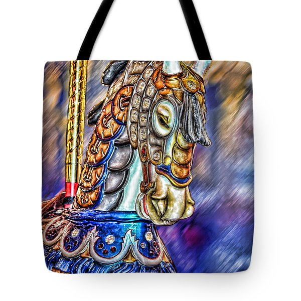 Tote Bag featuring the painting The Carousel Horse by Mary Almond