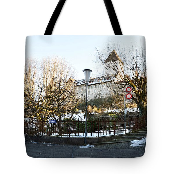 Tote Bag featuring the photograph The Castle In Winter Light by Felicia Tica