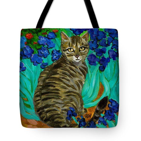 The Cat At Van Gogh's Irises Garden Tote Bag