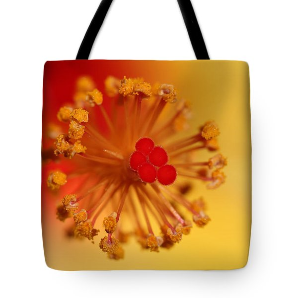 Tote Bag featuring the photograph The Center Of The Hibiscus Flower by Debbie Oppermann