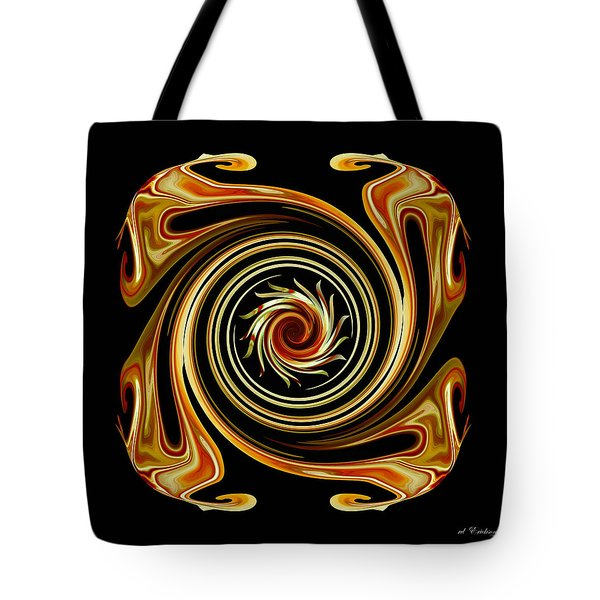 Tote Bag featuring the digital art The Center Swirl by rd Erickson