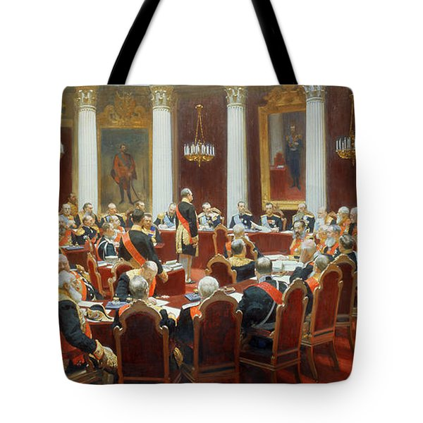 The Ceremonial Sitting Of The State Council 7th May 1901 Tote Bag by Ilya Efimovich Repin