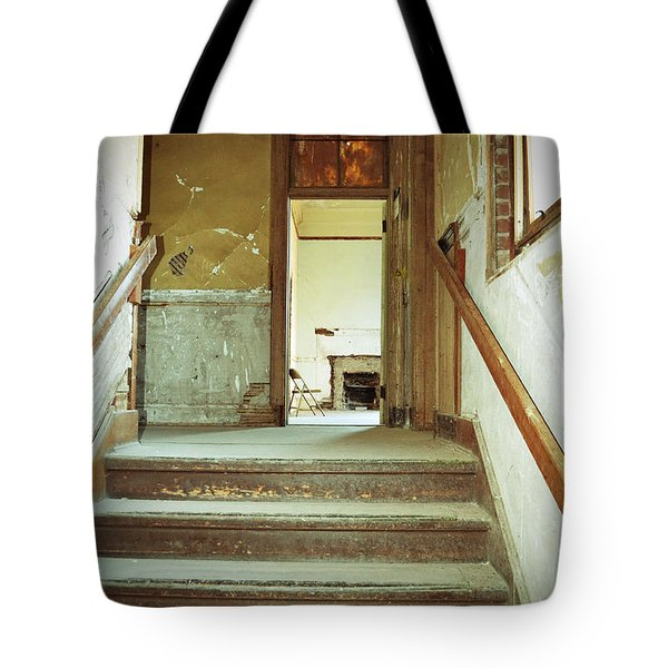 The Chair At The Top Of The Stairs Tote Bag by Holly Blunkall