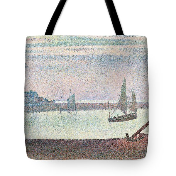 The Channel At Gravelines In The Evening Tote Bag by Georges Seurat