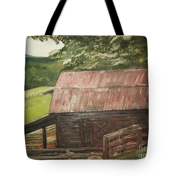 The Cherrys Barn Tote Bag by Jan Dappen