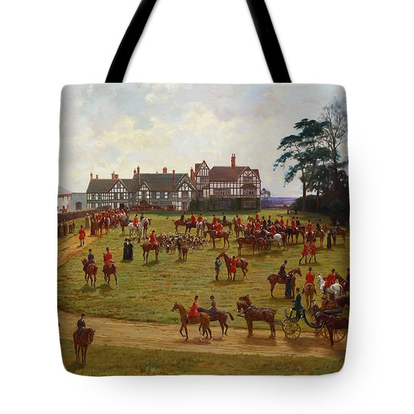 The Cheshire Hunt    The Meet At Calveley Hall  Tote Bag by George Goodwin Kilburne