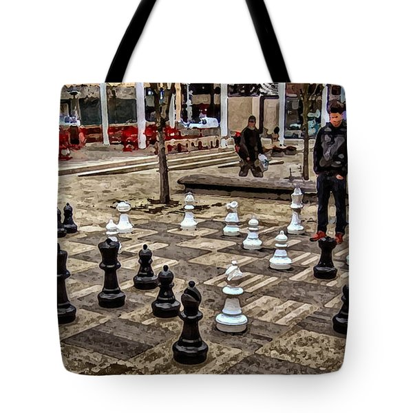 The Chess Match In Portland Tote Bag