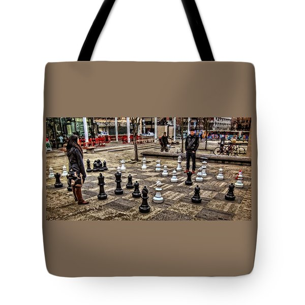 The Chess Match In Pdx Tote Bag by Thom Zehrfeld