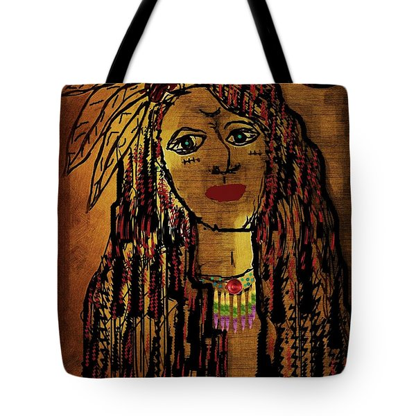 The Cheyenne Indian Warrior Brave Wolf Pop Art Tote Bag by Pepita Selles