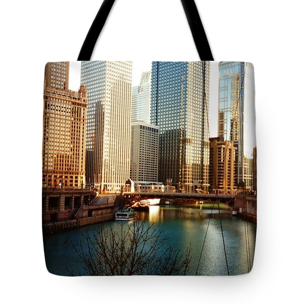 The Chicago River From The Michigan Avenue Bridge Tote Bag by Mariana Costa Weldon