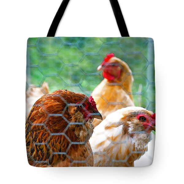 The Chickens Tote Bag by Gwyn Newcombe