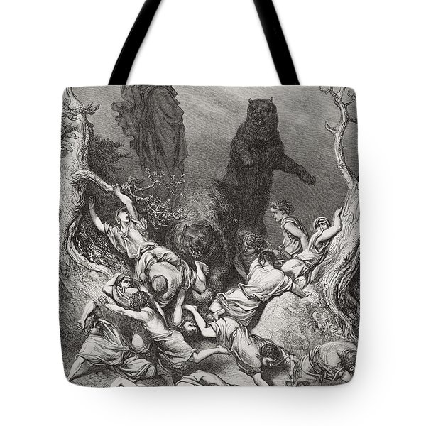The Children Destroyed By Bears Tote Bag by Gustave Dore
