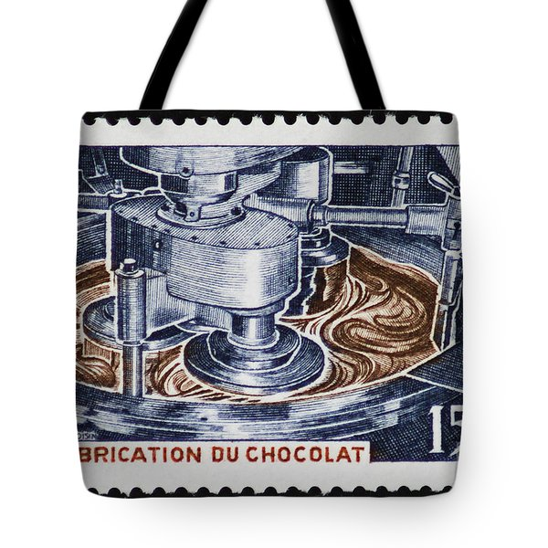 The Chocolate Factory Vintage Postage Stamp Tote Bag by Andy Prendy