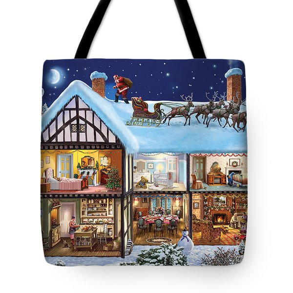 Christmas House Tote Bag by Steve Crisp