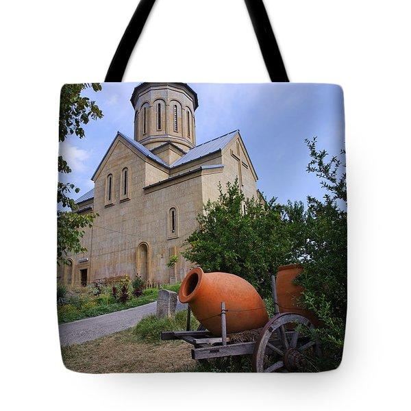 The Church Of St Nicolas Inside The Narikala Fortress Tbilisi Tote Bag by Robert Preston