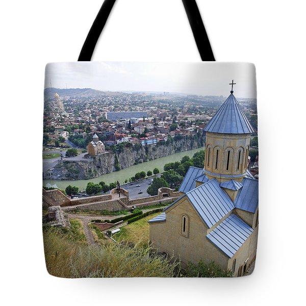 The Church Of St Nicolas Overlooking Tbilisi Georgia Tote Bag by Robert Preston