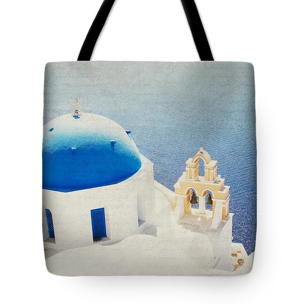 Tote Bag featuring the photograph The Church - Santorini by Lisa Parrish