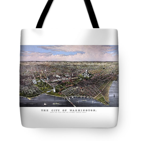 The City Of Washington Birds Eye View Tote Bag by War Is Hell Store