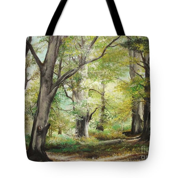 Tote Bag featuring the painting The Clearing by Sorin Apostolescu