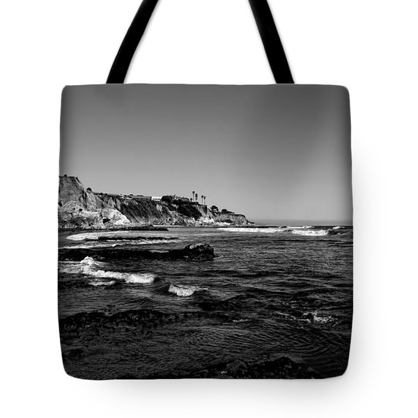 The Cliffs Of Pismo Beach Bw Tote Bag by Judy Vincent