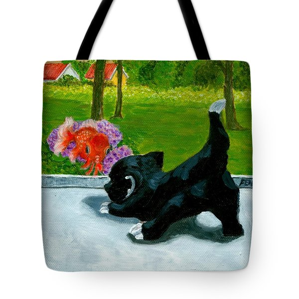 The Close Encounter Of A Cat And Fish Tote Bag by Jingfen Hwu