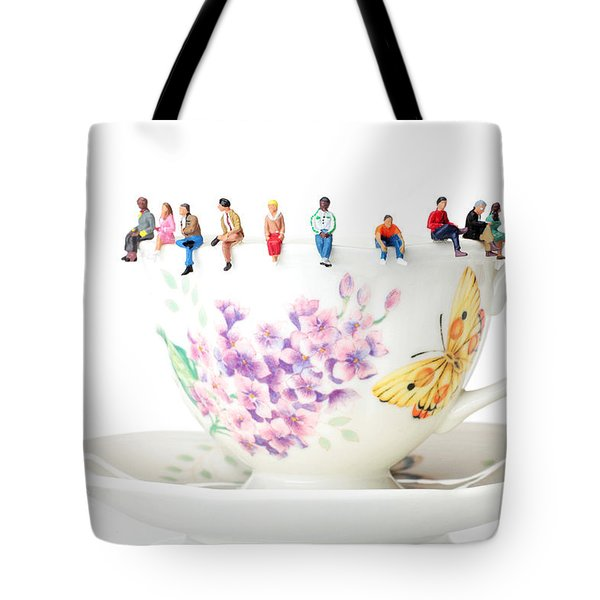 The Coffee Time Little People On Food Tote Bag by Paul Ge