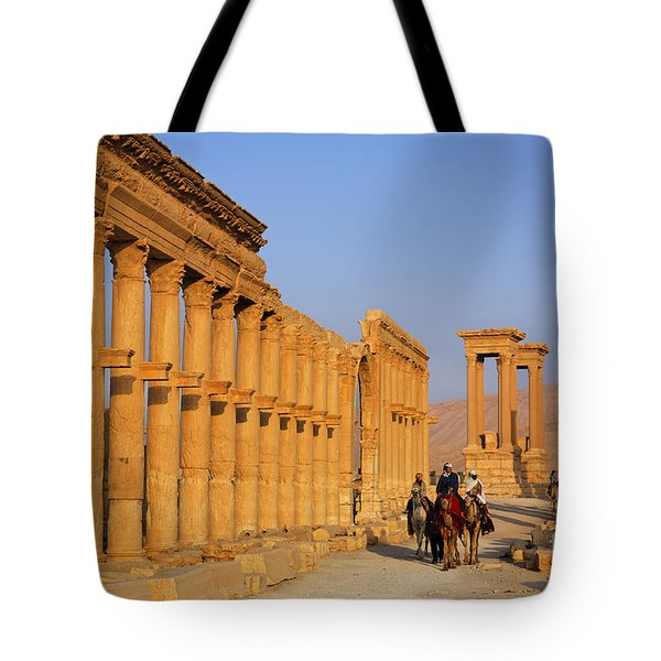 The Colonnaded Street Palmyra Syria Tote Bag by Robert Preston