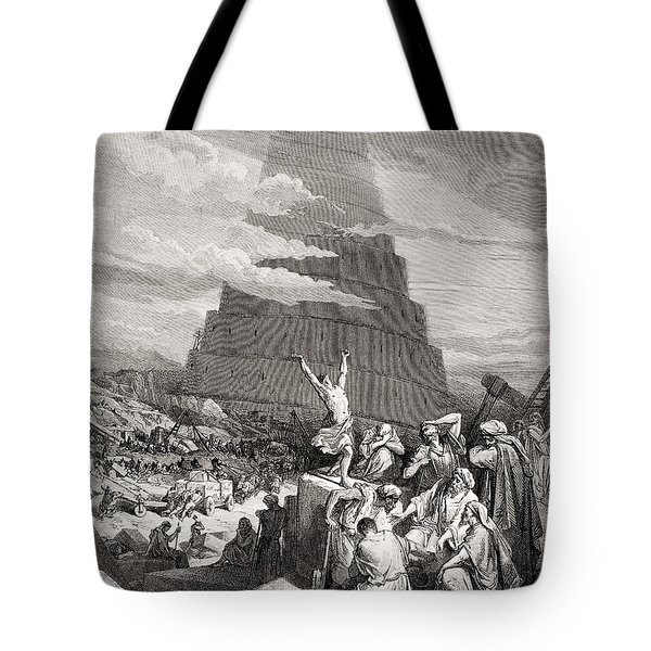 The Confusion Of Tongues Tote Bag by Gustave Dore