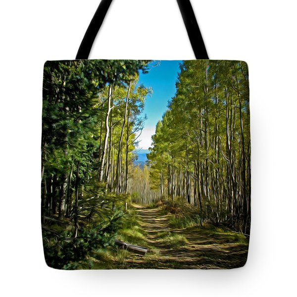 Tote Bag featuring the painting The Cool Path Through Arizona Aspens by John Haldane