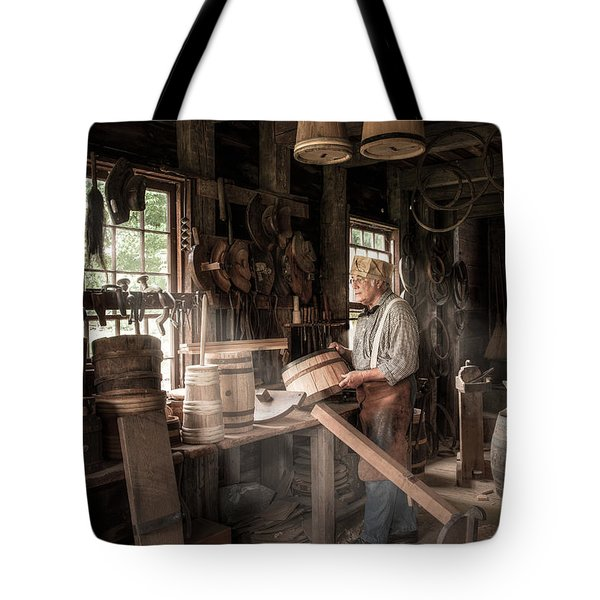 Tote Bag featuring the photograph The Cooper - 19th Century Artisan In His Workshop  by Gary Heller
