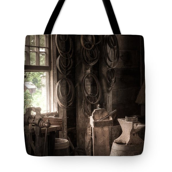 Tote Bag featuring the photograph The Coopers Window - A Glimpse Into The Artisans Workshop by Gary Heller