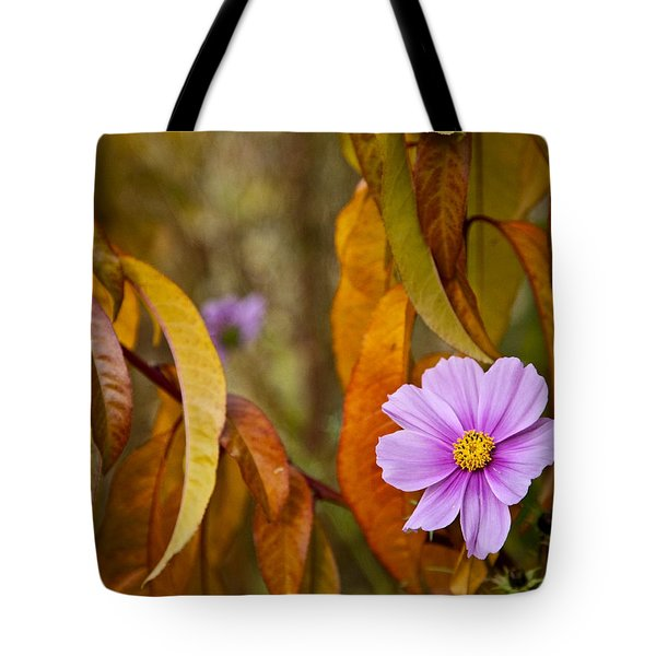 The Cosmos In The Peach Tree Tote Bag by Theresa Tahara