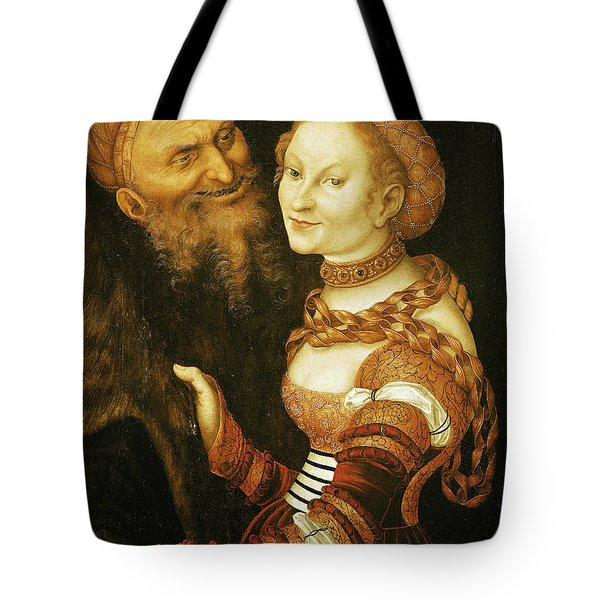 The Courtesan And The Old Man, C.1530 Oil On Canvas Tote Bag