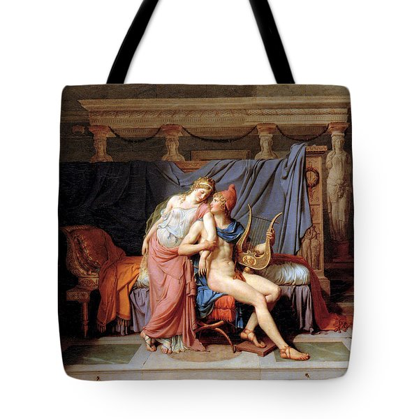 The Courtship Of Paris And Helen Tote Bag by Jacques Louis David